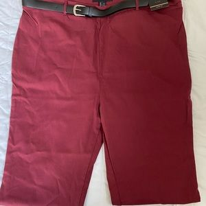 Ankle woven pants / burgundy